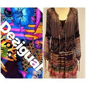 Desigual Patchwork Boho Dress Size 8